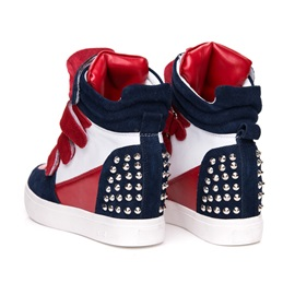 Strap Bandage & Rivets Wedge Fashion Sneakers