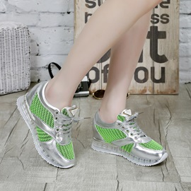 Neon Color Mesh & Lace Up Running Sneakers
