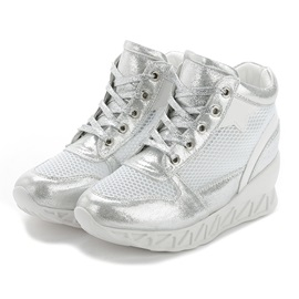 Mesh & Lace Up Wedge Platform Sneakers