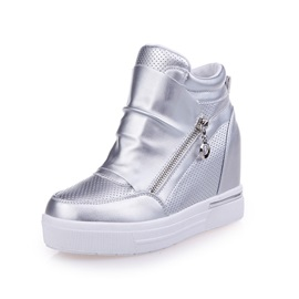 Solid Color Zippered Elevator Heel Women's Sneakers