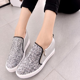 Sequin PU Patchwork Side-Zip Women's Sneakers