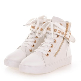 Rivets Round Toe Lace-Up Sneakers