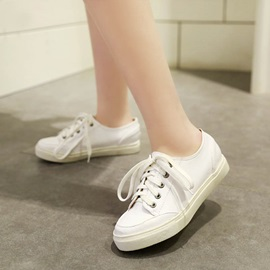 PU Round Toe Lace-Up Sneakers