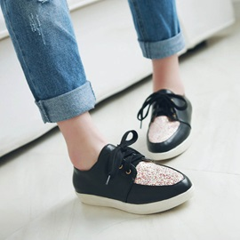 Sequins Round Toe Lace-Up Sneakers