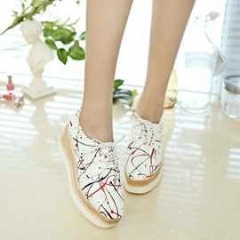 Painted PU Lace-Up Casual Shoes