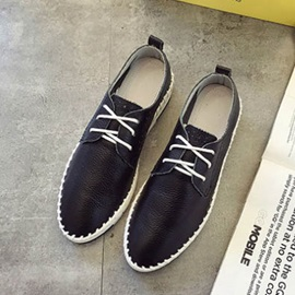 PU Thread Round Toe Lace-Up Casual Shoes