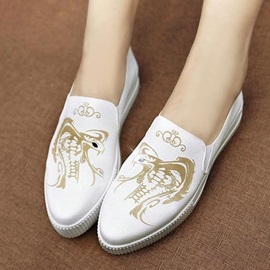 Printed PU Slip-On Loafers