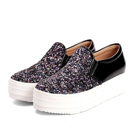 Sequins Round Toe Slip-On Loafers