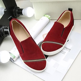 Suede Zippered Slip-On Loafers