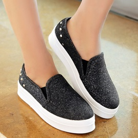 Studded Sequins Slip-On Loafers