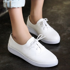 Solid Color PU Lace-Up Sneakers