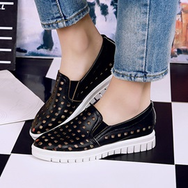 Solid Color PU Hollow Casual Shoes
