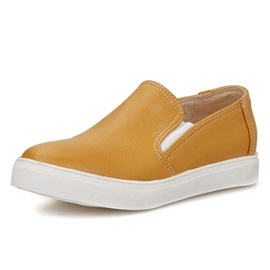 Solid Color PU Round Toe Slip-On Loafers