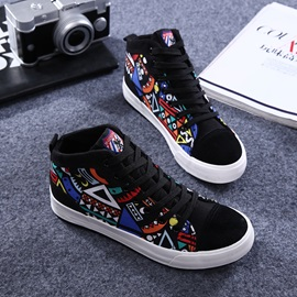Geometric Pattern Printed Lace-Up Canvas Shoes