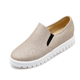 PU Sequins Slip-On Loafers