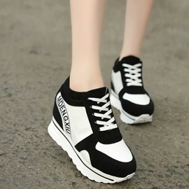 Contrast Color Elevator Heel Lace-Up Sneakers