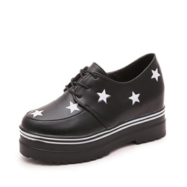 Stars Printed PU Lace-Up Casual Shoes