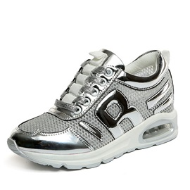 Mesh Patchwork Lace-Up Sneakers with Air Cushion