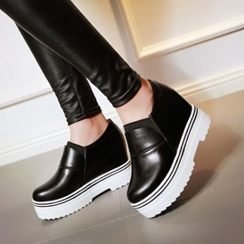 Striped Round Toe Elevator Heel Casual Shoes