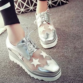 Stars Mesh Patchwork Lace-Up Sneakers