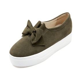 Solid Color Bowknots Slip-On Sneakers