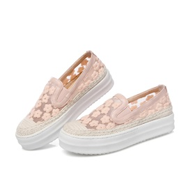 Embroidered Mesh Slip-On Loafers