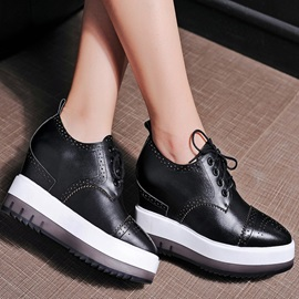 PU Elevator Heel Lace-Up Sneakers