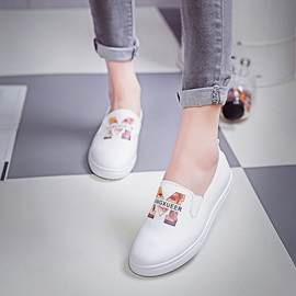 Letters Printed PU Slip-On Loafers