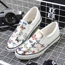 Butterfly Printed PU Slip-On Loafers