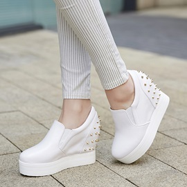 PU Rivets Elevator Heel Sneakers for Women