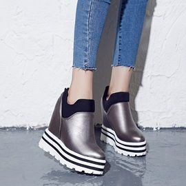Striped PU Elevator Heel Sneakers