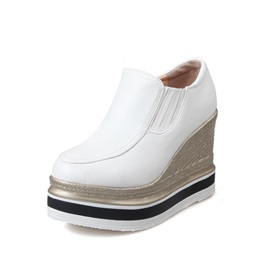 PU Round Toe Wedge Heel Sneakers