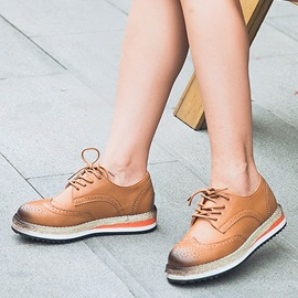 Breathable Faux Leather Wingtip Casual Shoes