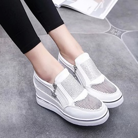 Mesh Patchwork Zippered Sneakers