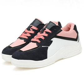 Contrast Color Lace-Up Sport Shoes