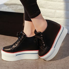 PU Round Toe Lace-Up Platform Sneakers