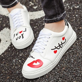 Printed PU Low-Cut Skater Shoes