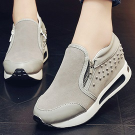 Suede Studded Oblique Zipper Sneakers