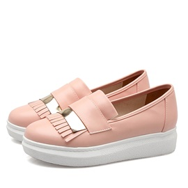 PU Tassels Round Toe Slip-On Loafers