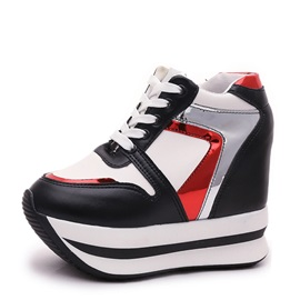 Contrast Color Elevator Heel Lace-Up Casual Shoes