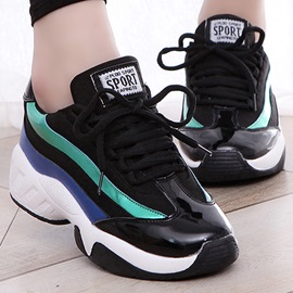 Contrast Color Round Toe Lace-Up Women's Sneakers