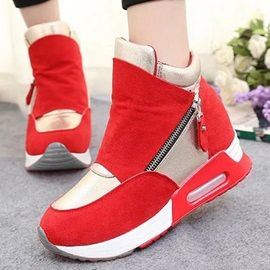 Contrast Color Oblique Zipper Sneakers