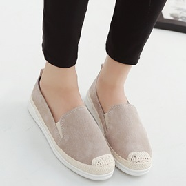 Suede Slip-On Thread Flat-With Loafers