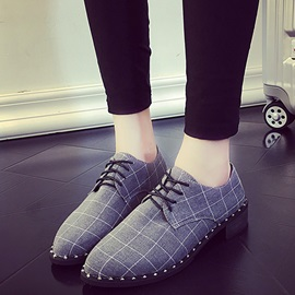 Canvas Rivet Lace-Up Thread Flat Shoes