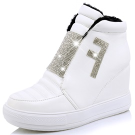 PU Rhinestone Slip-On Wedge Sneakers
