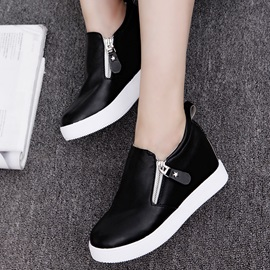 PU Zipper Platform Thread Sneakers