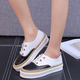 PU Lace-Up Thread Woven Platform Sneakers
