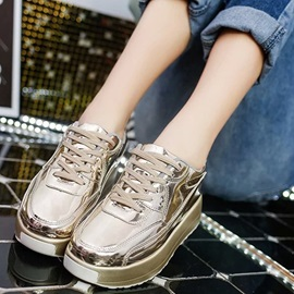 PU Lace-Up Platform Round Toe Fashion Shoes