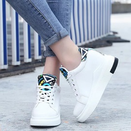 PU Lace-Up Platform Thread Sneakers