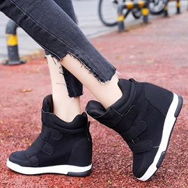 PU Velcro Color Platform Thread Sneakers